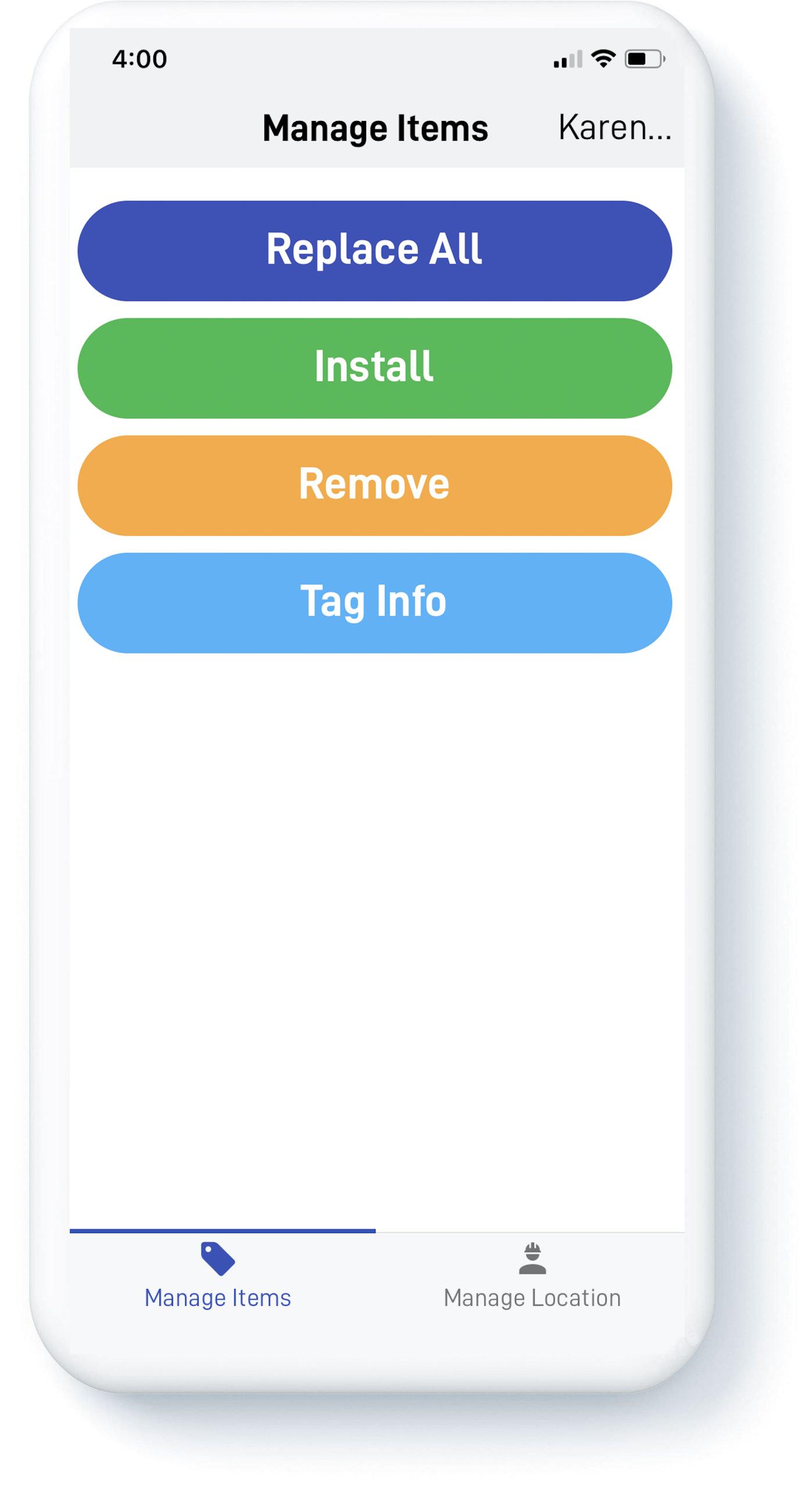 Phone screen showing KleenEdge iOS application